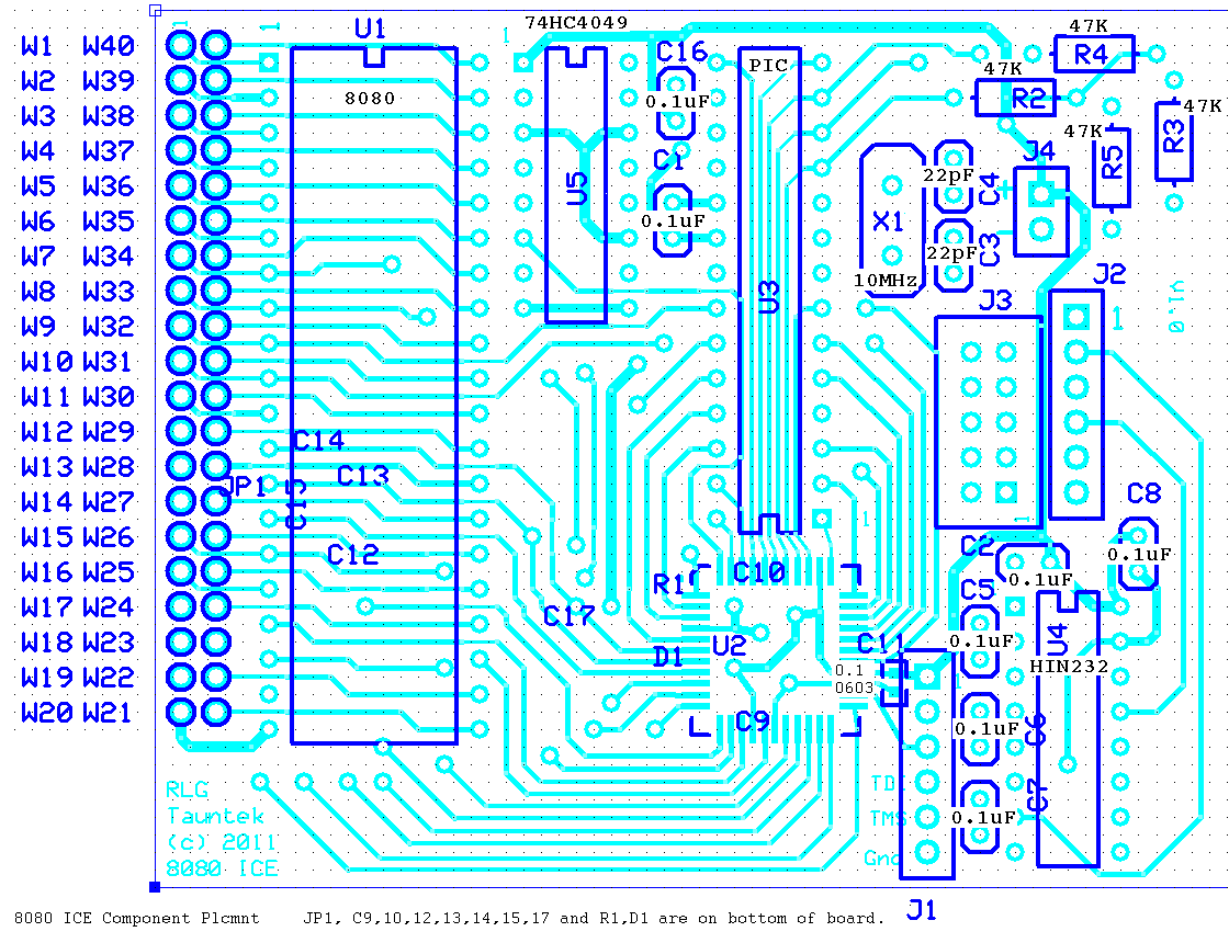 8080 In Circuit Emulator Kit Processor Diagram Parts Placement